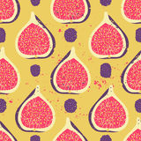 Sweet berry seamless pattern. With blackberries and figs. Vector illustration. Fruit background Stock Photo