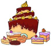 Sweet - Big Cake decorated with cream and little cakes and donut. S Royalty Free Stock Photos
