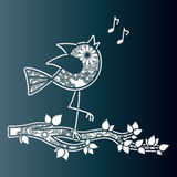 Sweet bird chirping on a tree branch. Vector template for laser Stock Photography