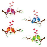 SWEET BIRDS WITH RED HEARTS ON TREE VECTOR SET Stock Photography