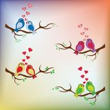 SWEET BIRDS WITH RED HEARTS ON TREE VECTOR SET WITH RAINBOW BACK. SWEET BIRDS WITH RED HEARTS ON TREE BRANCH, VECTOR DESIGN ELEMENTS, MULTICOLORED BACKGROUND stock illustration