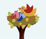 Sweet birds in a tree mama feeding babies Royalty Free Stock Image