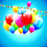 Sweet birthday balloons. On blue background Royalty Free Stock Images
