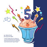 Sweet birthday cake. With color candles icon and color ribbons. Vector picture Royalty Free Stock Photo