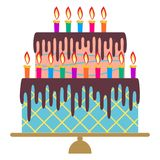 Sweet birthday cake with fifteen burning candles. Colorful holiday dessert. Vector celebration background Stock Image