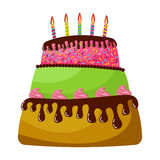 Sweet birthday cake with five burning candles. Colorful holiday dessert. Vector celebration background Royalty Free Stock Photo