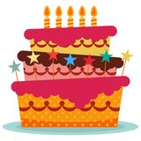 Sweet birthday cake with five burning candles. Colorful holiday dessert. Vector celebration background Stock Photography