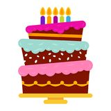 Sweet birthday cake with five burning candles. Colorful holiday dessert. Vector celebration background Stock Photos
