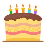 Sweet birthday cake with five burning candles. Colorful holiday dessert. Vector celebration background Royalty Free Stock Images