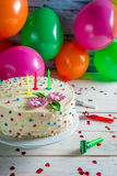Sweet birthday cake at a party Stock Photo