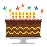 Sweet birthday cake with seven burning candles. Colorful holiday dessert. Vector celebration background Stock Images