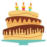 Sweet birthday cake with three burning candles. Colorful holiday dessert. Vector celebration background Royalty Free Stock Images