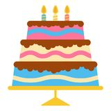 Sweet birthday cake with three burning candles. Colorful holiday dessert. Vector celebration background Stock Images