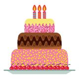 Sweet birthday cake with three burning candles. Colorful holiday dessert. Vector celebration background Royalty Free Stock Image