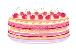 Free Sweet Birthday Cake With Cherries Stock Images - 183611734