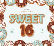 Sweet 16 birthday card. Cartoon hand drawn letters and donut frame on pastel blue. Vector Stock Photo