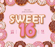 Sweet 16 birthday card. Cute cartoon letters and donut frame. Pastel pink colors. Vector Stock Illustration