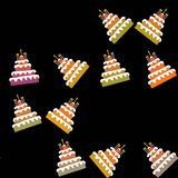 Sweet birthday five-storey cakes pattern Royalty Free Stock Image