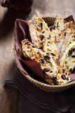 Sweet biscotti in a basket Royalty Free Stock Images