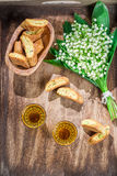 Sweet biscotti with Vin Santo Royalty Free Stock Image