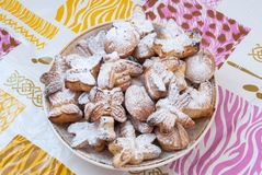 Sweet biscuit in powder stock image