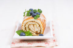 Sweet Biscuit Roll Cake with fresh berries Stock Image