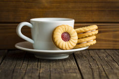 Sweet biscuits with jam. Stock Photo