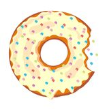 Sweet bite donut. Donut with glaze isolated on white background. Vector Royalty Free Stock Photos