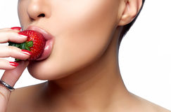 Sweet Bite. Healthy Mouth Biting Strawberry Stock Images