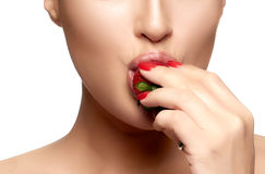 Sweet Bite. Healthy Mouth Biting Strawberry Stock Image
