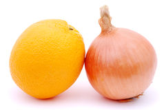 Sweet and bitter, orange and onion Royalty Free Stock Photos