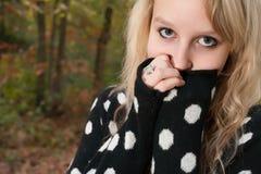 Sweet blond girl. Blong teenage fashion girl in the autumn stock photos