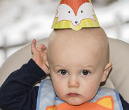 Sweet Blond Haired Toddler's Birthday Party Stock Photo