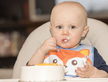 Sweet Blond Haired Toddler's Birthday Party Stock Photography