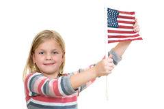 Sweet blonde Girl holding an american flag Stock Images