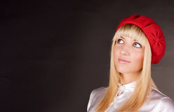 Sweet blonde looks up Stock Image