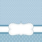 Sweet, blue dots vector card or invitation with white polka dots. Stock Photos