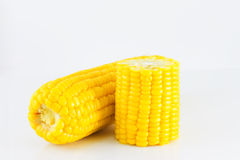 Sweet boiled corn on white background Royalty Free Stock Photo