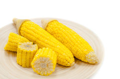 Sweet boiled corn on wood bowl Royalty Free Stock Photos