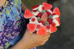 Sweet bouquet. With gummi candies Royalty Free Stock Photography