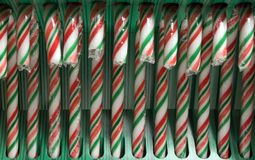 Sweet box. A box of wrapped christams candy canes Royalty Free Stock Photography