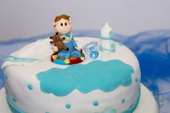 Sweet boy cake. Close up view of an anniversary sweet boy cake Royalty Free Stock Image