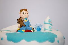 Sweet boy cake. Close up view of an anniversary sweet boy cake Royalty Free Stock Photo