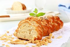 Sweet braided bread Stock Images