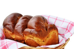 Sweet braided bread in a basket Stock Photo