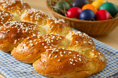Sweet braided bread with easter eggs Stock Image