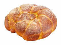 Sweet bread. Traditional sweet easter bread isolated on white Royalty Free Stock Photo