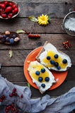 Sweet bread with  blueberry, honey and butter , butter and blueberry jam. Tasty bread with jam. Sweet sandwich, food, breakfast Stock Image