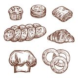Sweet bread bun sketch of bakery, pastry product. Sweet bread bun sketch set of bakery and pastry shop product. Croissant, cupcake and cookie, chocolate roll vector illustration