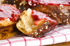 Sweet bread (challah) with strawberry jam Stock Images